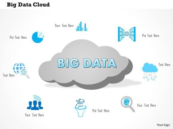 business diagram big data cloud with analytic icons surrounding it, Presentation templates