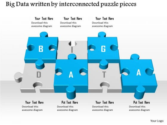 Business Diagram Big Data Written By Interconnected Puzzle Pieces Ppt Slide