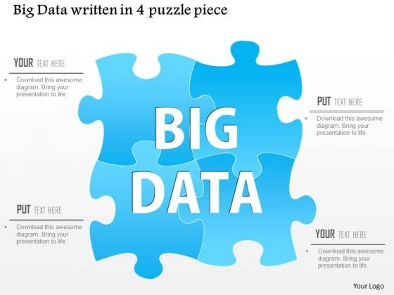 Business Diagram Big Data Written In A 4 Puzzle Piece Ppt Slide