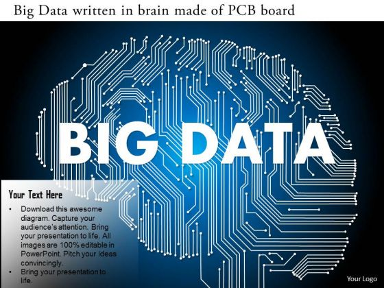 Business Diagram Big Data Written In Brain Made Of Pcb Board Ppt Slide