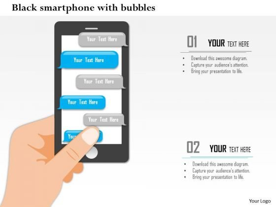 Business Diagram Black Smart Phone With Speech Bubbles For Communication Presentation Template