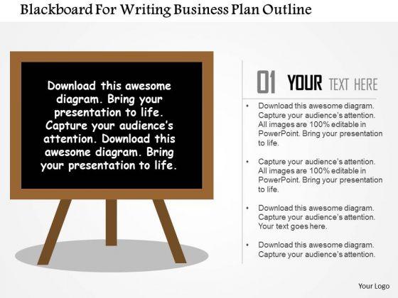 Business Diagram Blackboard For Writing Business Plan Outline Presentation Template