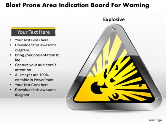 Business Diagram Blast Prone Area Indication Board For Warning Presentation Template