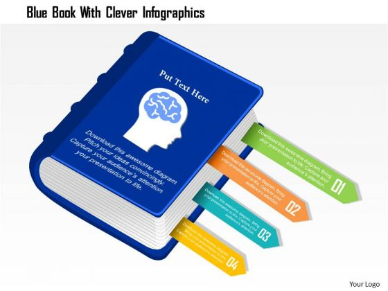 Business Diagram Blue Book With Clever Infographics Presentation Template