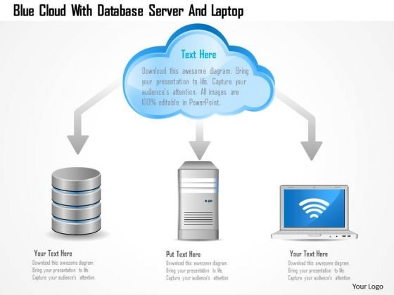Business Diagram Blue Cloud With Database Server And Laptop PowerPoint Template