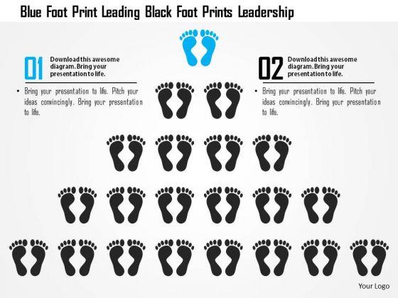 Business Diagram Blue Foot Print Leading Black Foot Prints Leadership Presentation Template