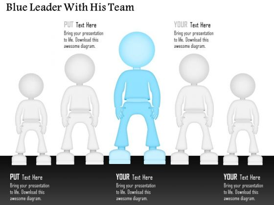 Business Diagram Blue Leader With His Team Presentation Template