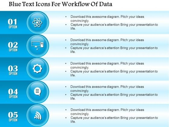 Business Diagram Blue Text Icons For Workflow Of Data Presentation Template