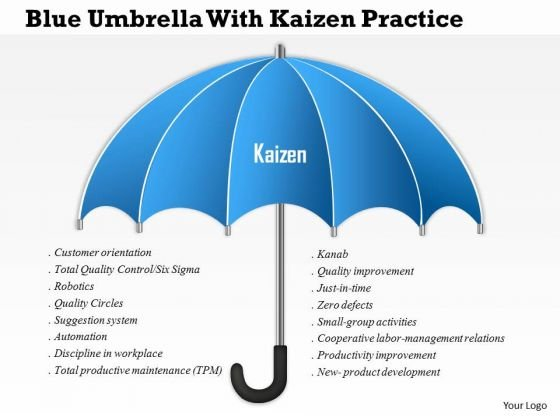 Business Diagram Blue Umbrella With Kaizen Practice Presentation Template