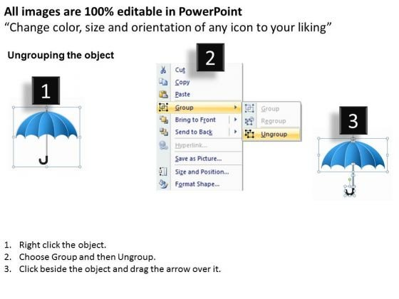 Business Diagram Blue Umbrella With Kaizen Practice Presentation ...
