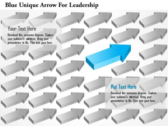 Business Diagram Blue Unique Arrow For Leadership Presentation Template