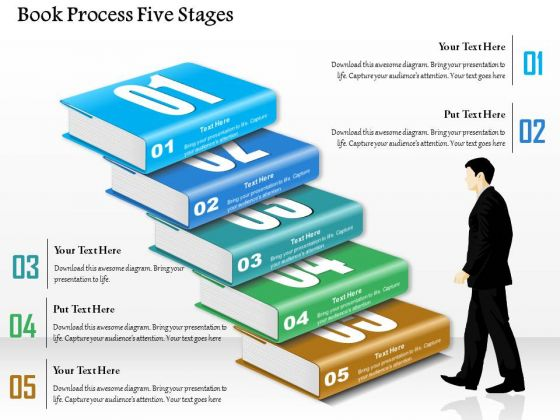 Business Diagram Book Process Five Stages Presentation Template