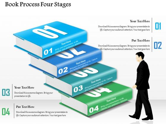Business Diagram Book Process Four Stages Presentation Template