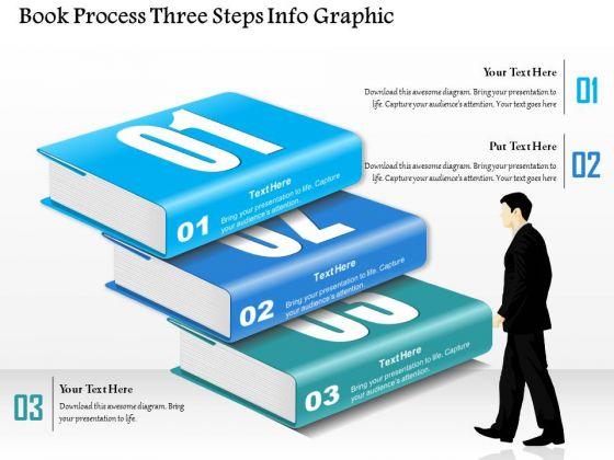 Business Diagram Book Process Three Steps Info Graphic Presentation Template