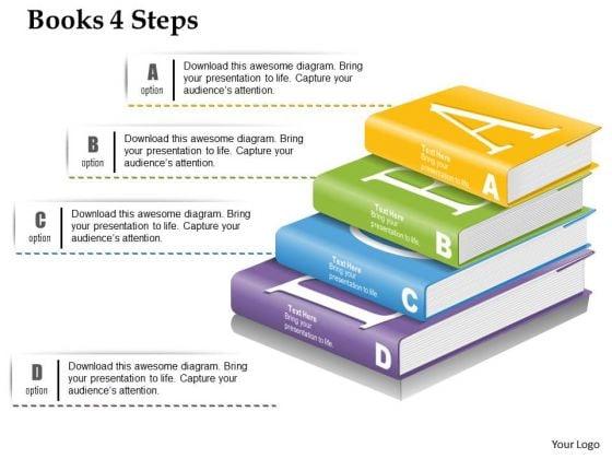 Business Diagram Books 4 Steps Presentation Template