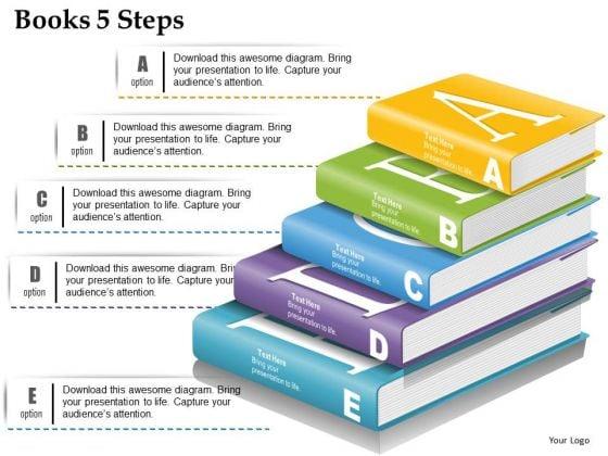 Business Diagram Books 5 Steps Presentation Template