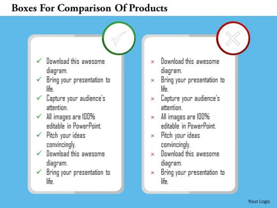 Business Diagram Boxes For Comparison Of Products PowerPoint Templates