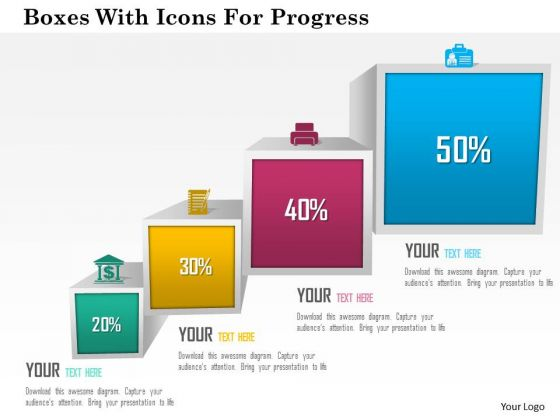 Business Diagram Boxes With Icons For Progress Presentation Template