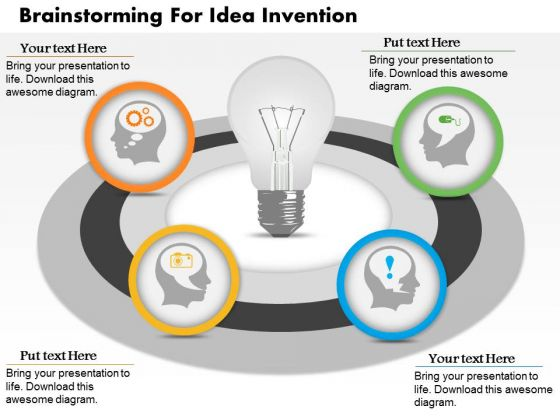 Business Diagram Brainstorming For Idea Invention Presentation Template