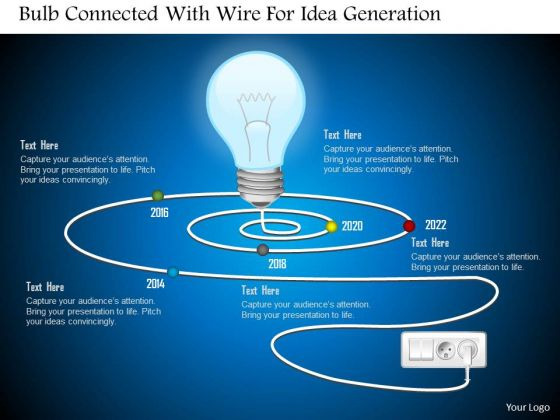 Business Diagram Bulb Connected With Wire For Idea Generation Presentation Template