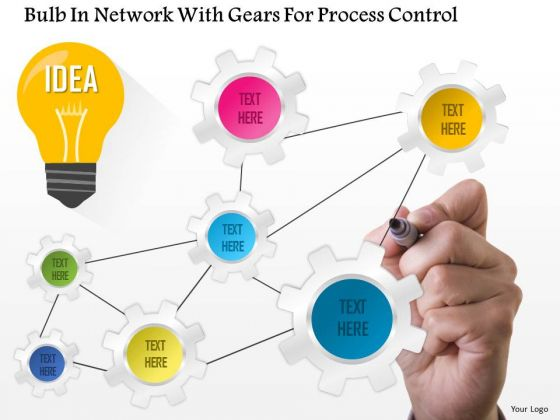 Business Diagram Bulb In Network With Gears For Process Control Presentation Template