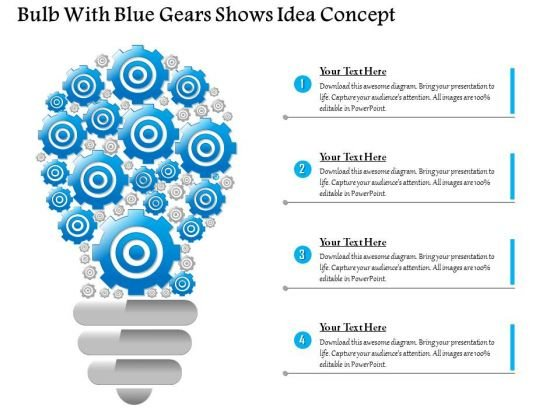 Business Diagram Bulb With Blue Gears Shows Idea Concept Presentation Template