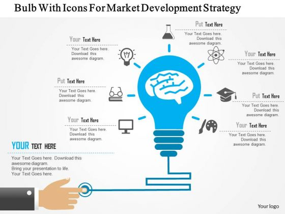 business diagram bulb with icons for market development strategy, Presentation templates