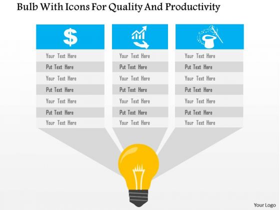 Business Diagram Bulb With Icons For Quality And Productivity Presentation Template