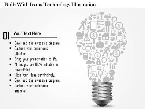 Business Diagram Bulb With Icons Technology Illustration Presentation Template