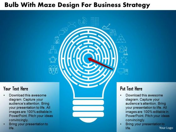 Business Diagram Bulb With Maze Design For Business Strategy Presentation Template