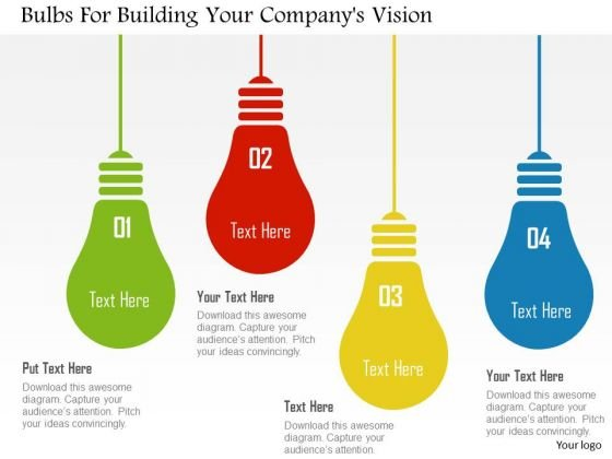 business diagram bulbs for building your companys vision, Presentation templates