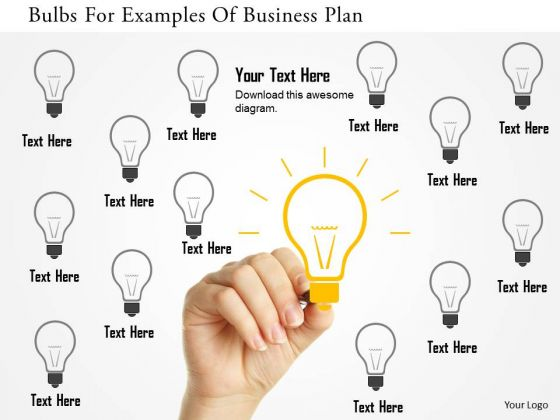 Business Diagram Bulbs For Examples Of Business Plan Presentation Template