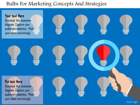 Business Diagram Bulbs For Marketing Concepts And Strategies Presentation Template