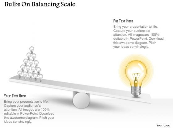 Business Diagram Bulbs On Balancing Scale Presentation Template