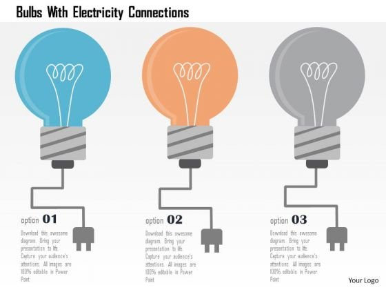 Business Diagram Bulbs With Electricity Connections Presentation Template