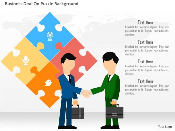 Business Diagram Business Deal On Puzzle Background Presentation Template