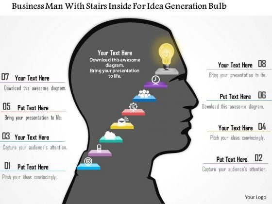 Business Diagram Business Man With Stairs Inside For Idea Generation Bulb Presentation Template