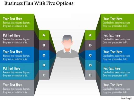 Business Diagram Business Plan With Five Options Presentation Template
