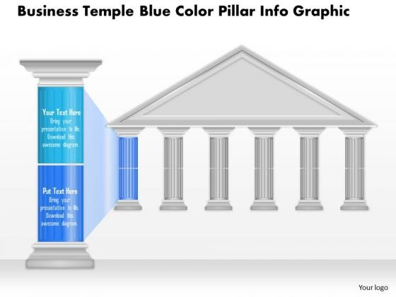 Business Diagram Business Temple Blue Color Pillar Info Graphic Presentation Template