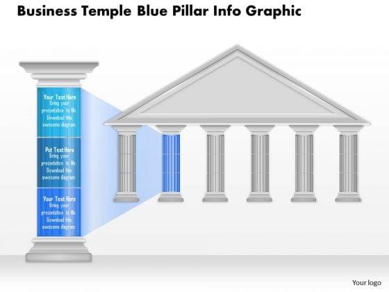 Business Diagram Business Temple Blue Pillar Info Graphic Presentation Template
