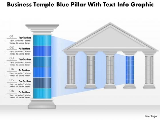 Business Diagram Business Temple Blue Pillar With Text Info Graphic Presentation Template