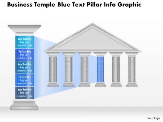 Business Diagram Business Temple Blue Text Pillar Info Graphic Presentation Template