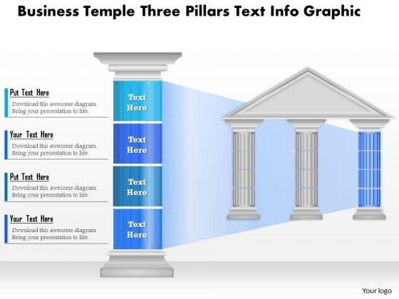 Business Diagram Business Temple Three Pillars Text Info Graphic Presentation Template