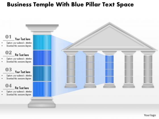 Business Diagram Business Temple With Blue Pillar Text Space Presentation Template