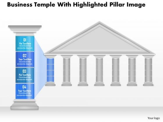 Business Diagram Business Temple With Highlighted Pillar Image Presentation Template