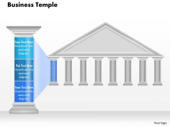 Business Diagram Business Temple With Pillar Blue Color Text Presentation Template