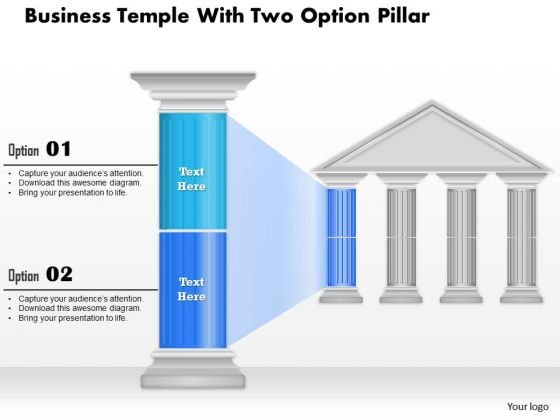 Business Diagram Business Temple With Two Option Pillar Presentation Template
