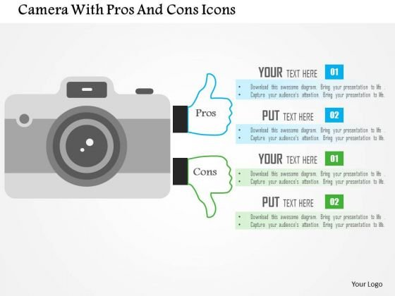 Business Diagram Camera With Pros And Cons Icons Presentation Template