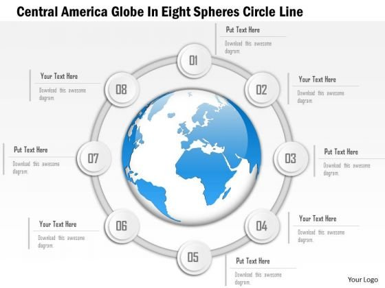 Business Diagram Central America Globe In Eight Spheres Circle Line Presentation Template