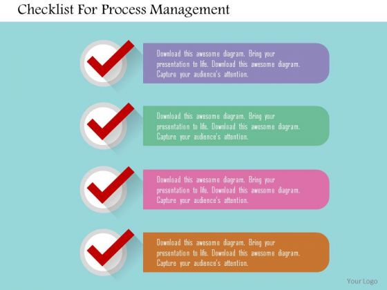 Business Diagram Checklist For Process Management Presentation Template